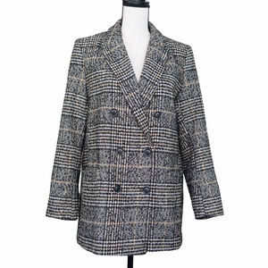 H&M Houndstooth Double Breasted Blazer Jacket 12